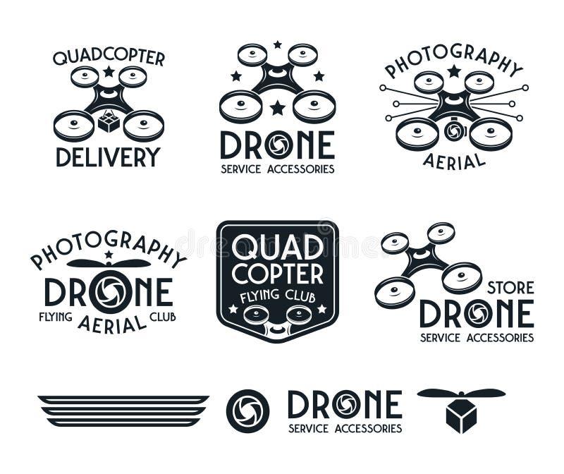 Sistema del abejón o del quadrocopter de insignias del vector