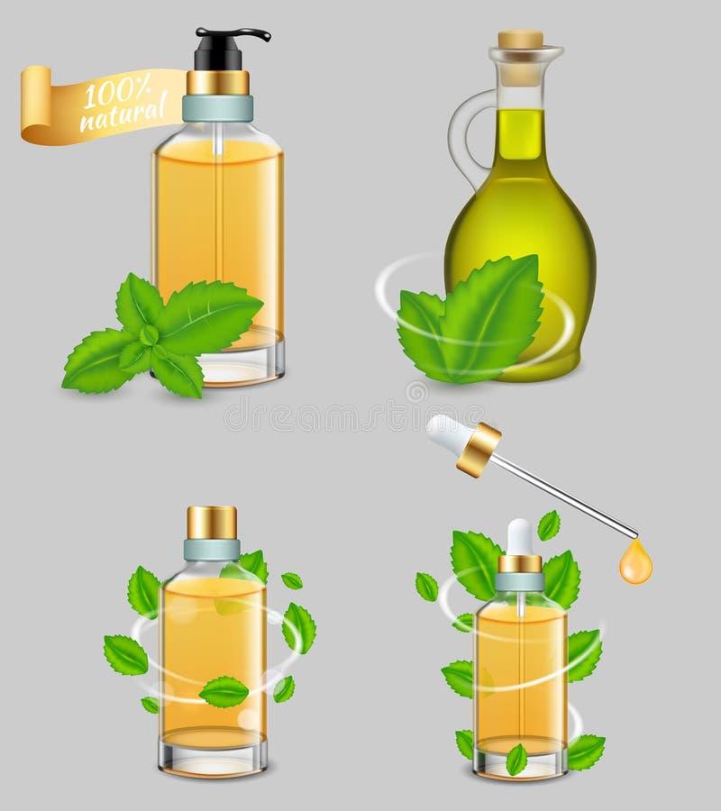 Sistema del aceite esencial de la hierbabuena, ejemplo realista del vector stock de ilustración