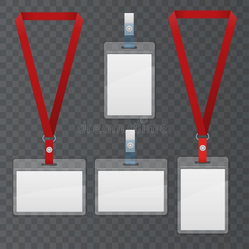 Sistema del acollador y de la insignia El sistema plástico de la identificación de la insignia de la plantilla se puede utilizar  ilustración del vector