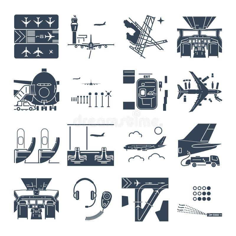 Sistema del aeropuerto y del aeroplano negros, terminal, pista de los iconos stock de ilustración
