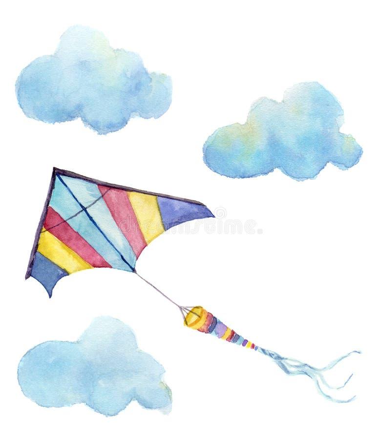 Sistema del aire de la cometa de la acuarela Dé la cometa exhausta del vintage con las nubes y diseño retro Ejemplos aislados en  ilustración del vector