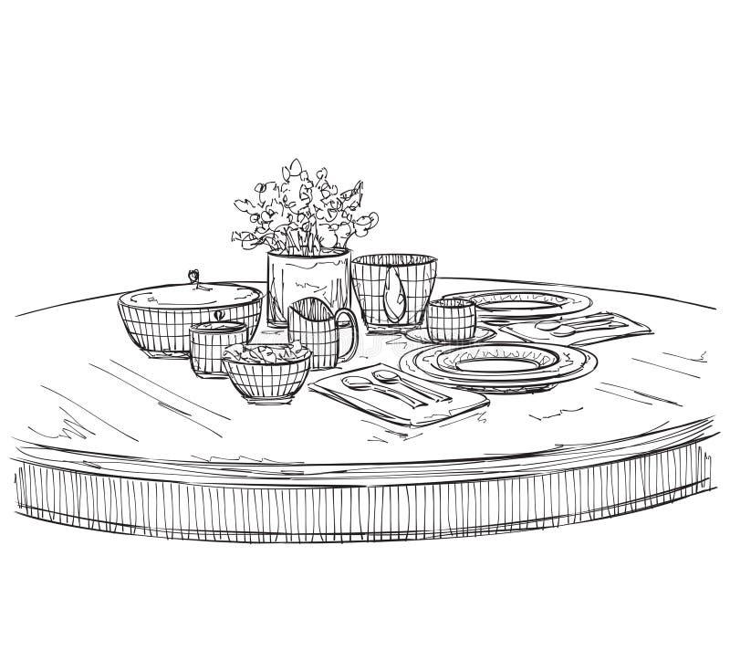 Sistema del ajuste de la tabla Desayuno o cena del fin de semana ilustración del vector
