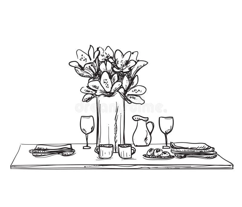 Sistema del ajuste de la tabla Desayuno o cena del fin de semana libre illustration
