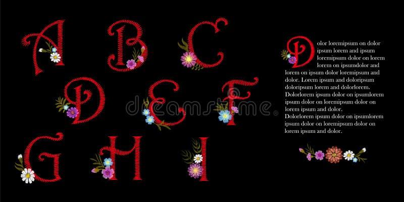 Sistema del alfabeto del vintage del bordado Flores decorativas iniciales del casquillo de descenso El ejemplo rojo adornado del  ilustración del vector