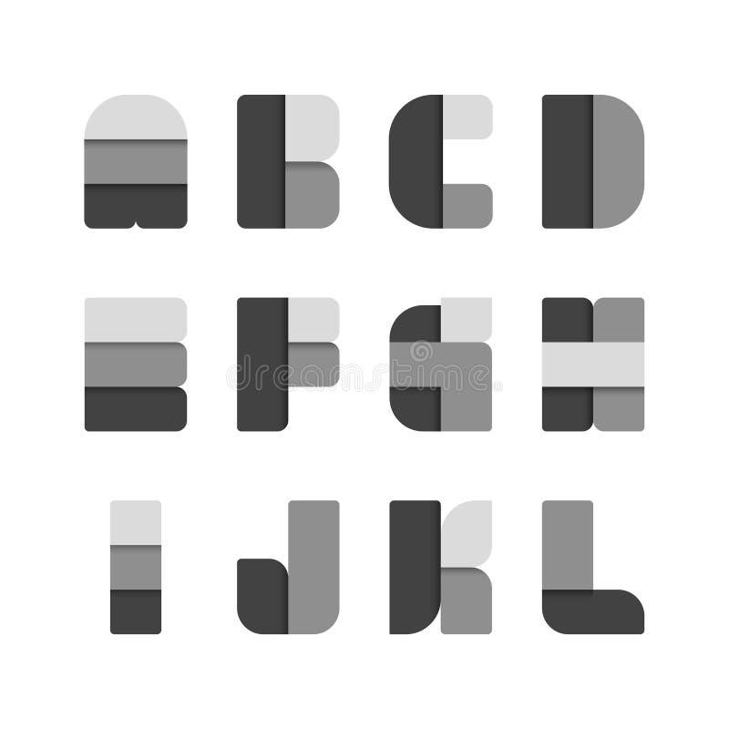 Sistema del alfabeto, ejemplo estilo negro de papel del color libre illustration
