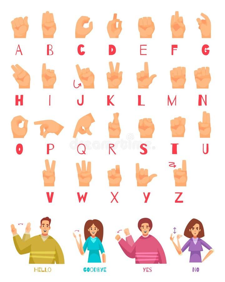 Sistema del alfabeto del lenguaje de signos ilustración del vector