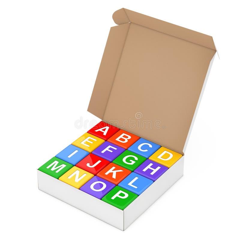 Sistema del alfabeto multicolor Toy Cubes en caja del cartón renderin 3D stock de ilustración