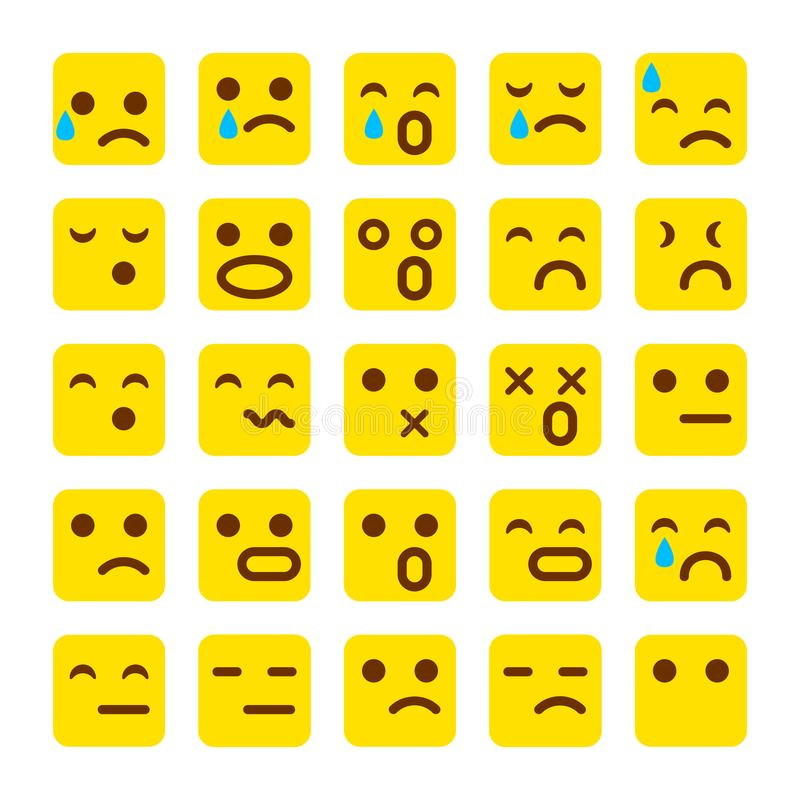 Sistema del amarillo del vector de iconos de la sonrisa Emoji los emoticons hacen frente, triste, ejemplo del vector libre illustration