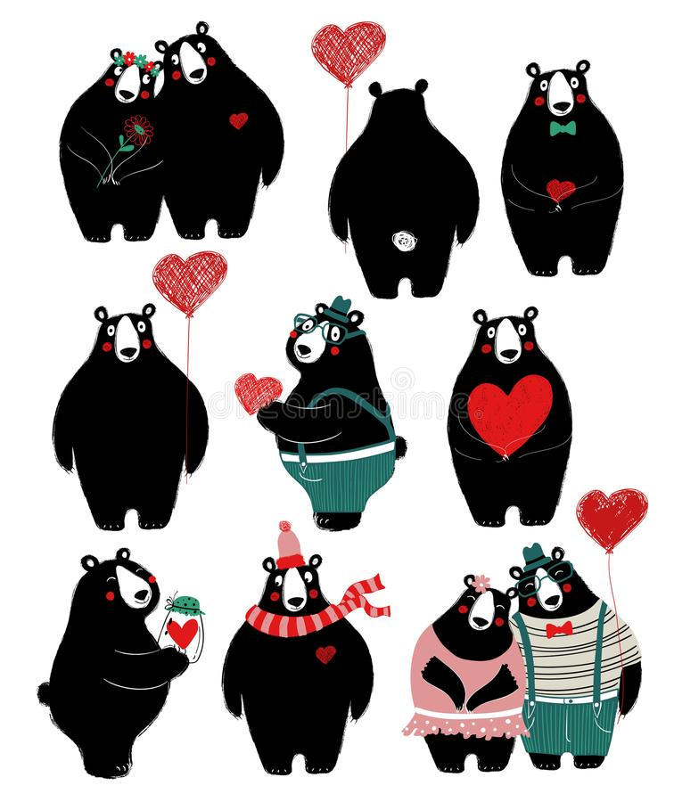 Sistema del amor con el solos oso y pares ilustración del vector