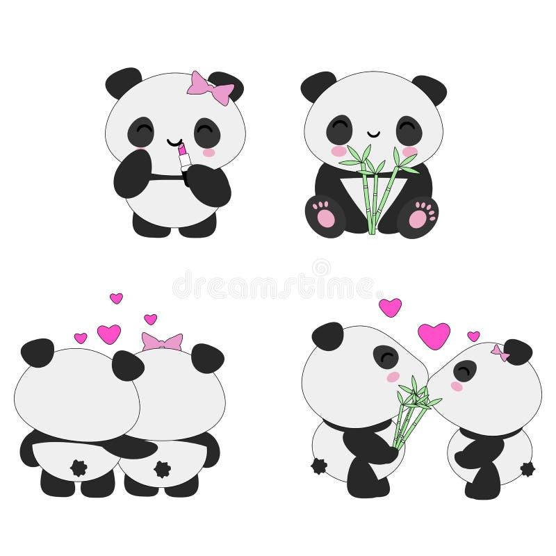 Sistema del amor de las pandas de Kawaii ilustración del vector
