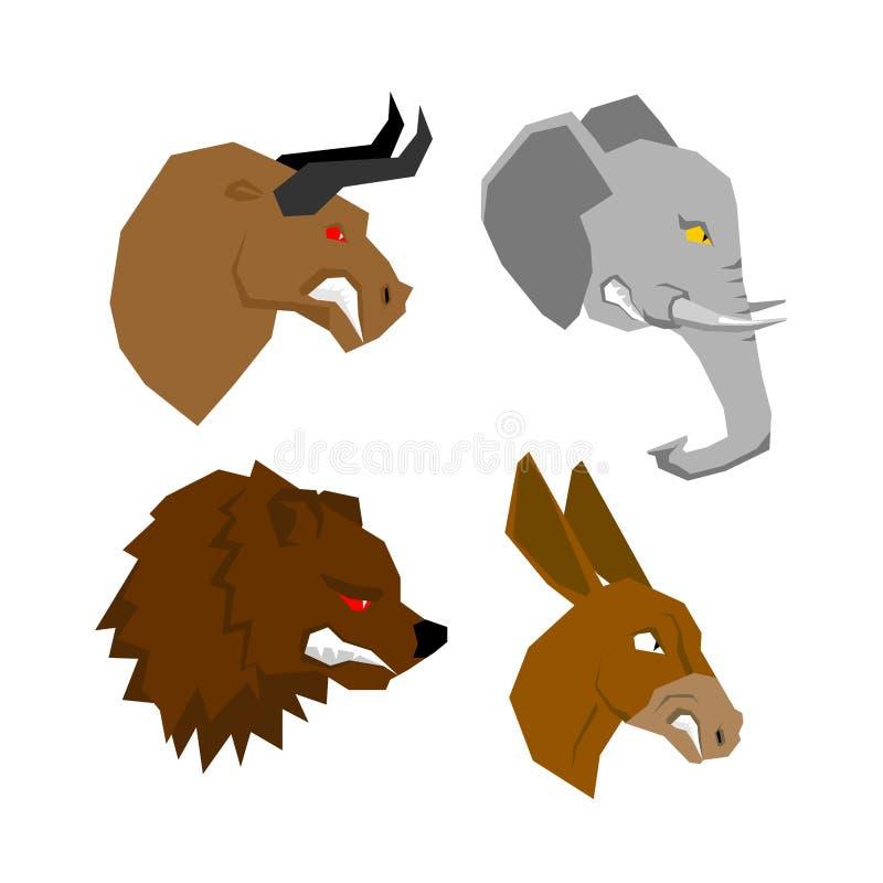 Sistema del animal de Angryl Toro agresivo con los ojos rojos Elefante asustadizo libre illustration