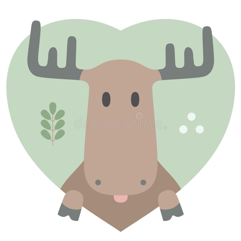 Sistema del animal Retrato de un alce en amor en plano stock de ilustración