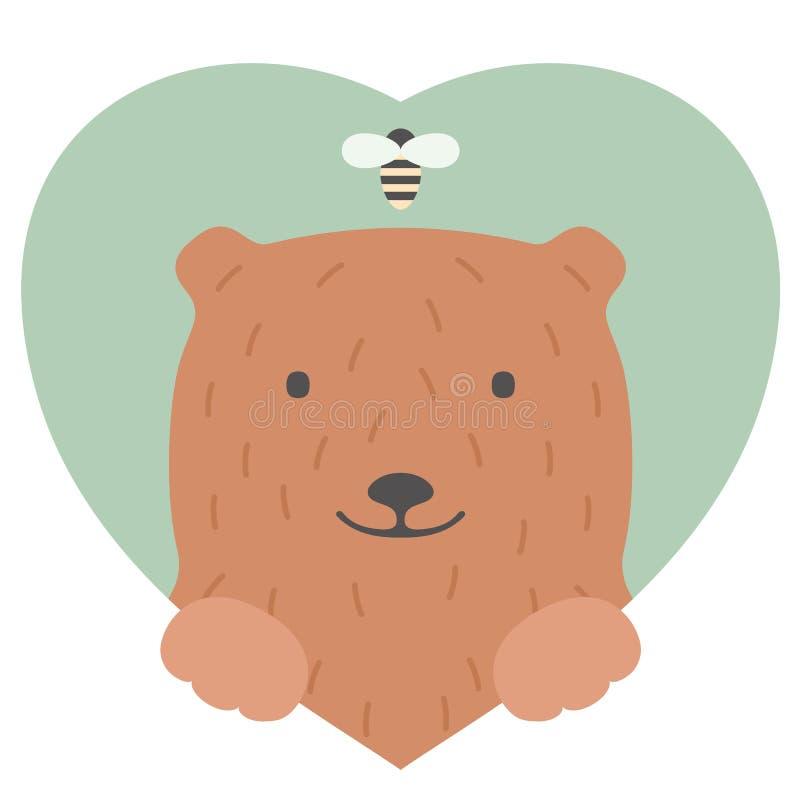 Sistema del animal Retrato de un oso en amor en plano stock de ilustración