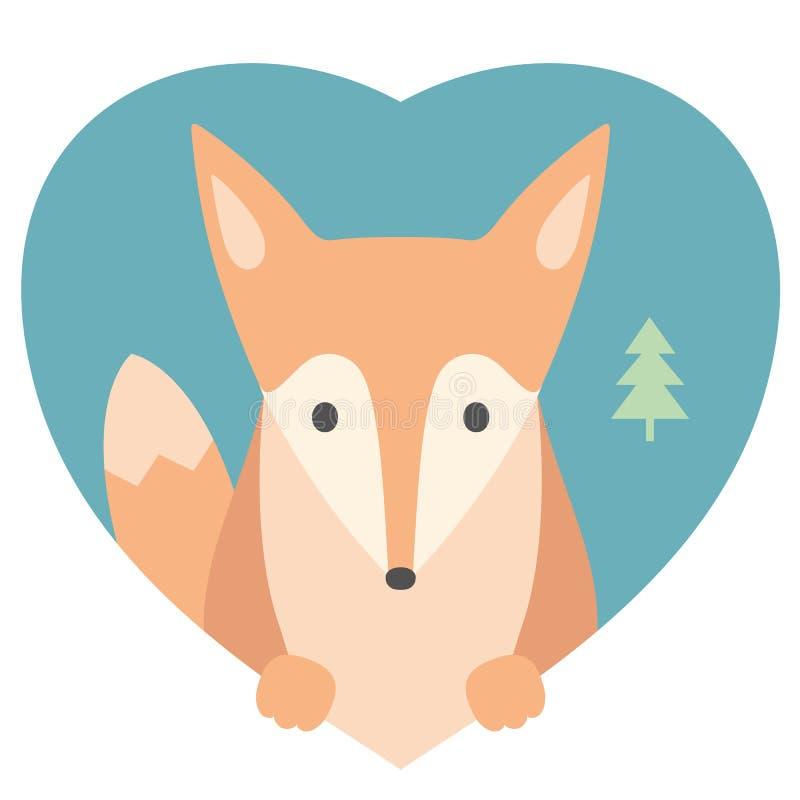 Sistema del animal Retrato de un zorro en amor en plano stock de ilustración