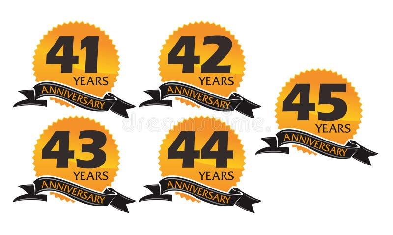 Sistema del aniversario de la cinta de la caja de regalo del año stock de ilustración