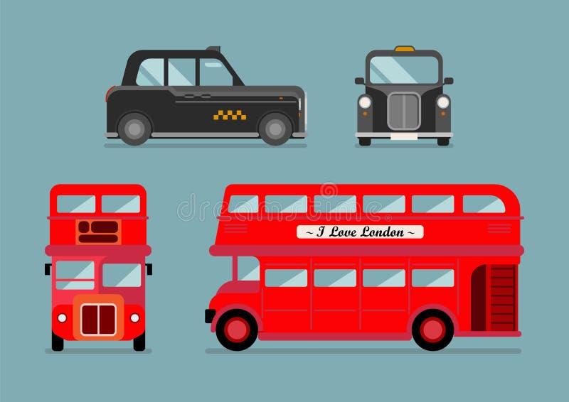 Sistema del autobús y del taxi de la ciudad de Londres ilustración del vector