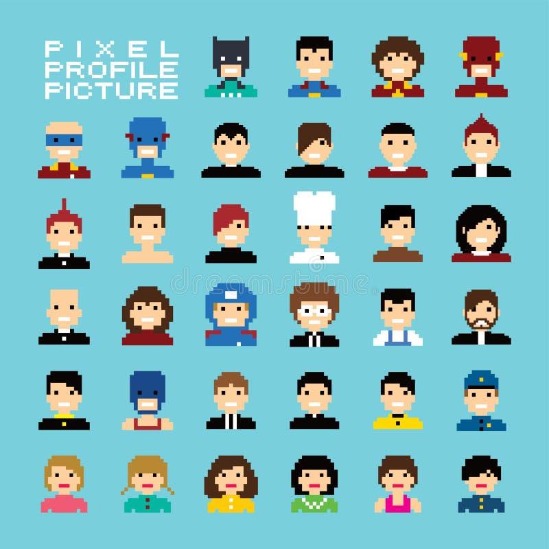 Sistema del avatar de la gente del pixel stock de ilustración