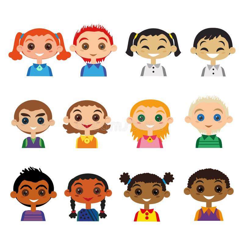Sistema del avatar de los niños ilustración del vector