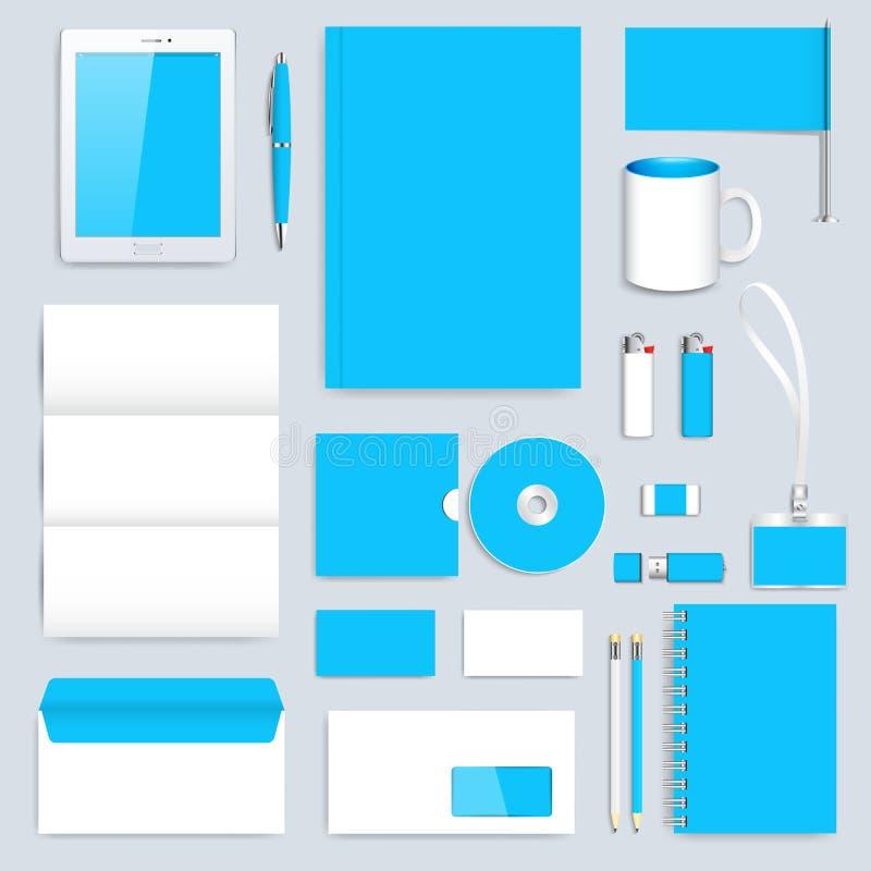 Sistema del azul de la plantilla de la identidad corporativa del vector Maqueta moderna de los efectos de escritorio del negocio  libre illustration