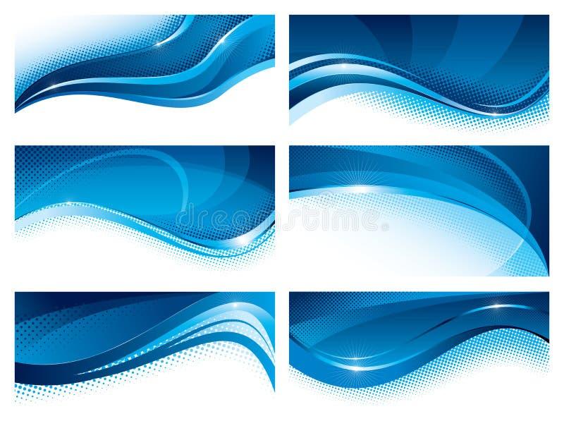 Sistema del azul de las banderas libre illustration