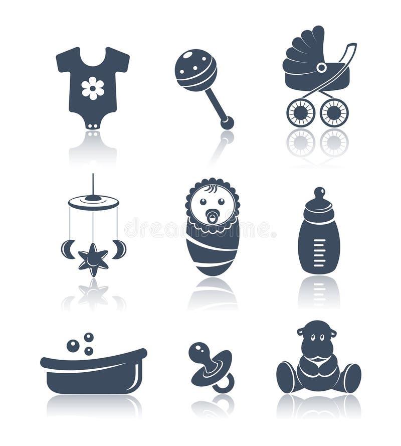 Sistema del azul de los iconos del bebé ilustración del vector