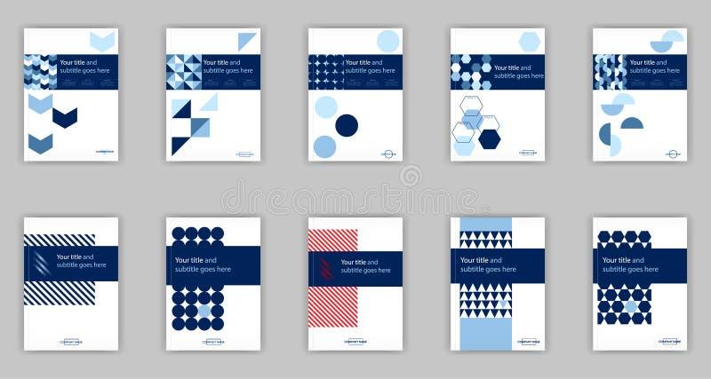 Sistema del azul de 10 plantillas del diseño de la cubierta de libro del negocio A4 Bueno para imagenes de archivo