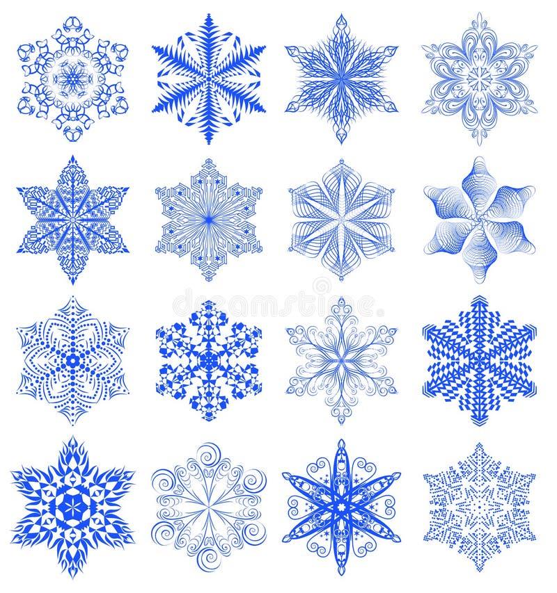 Sistema del azul del copo de nieve ilustración del vector