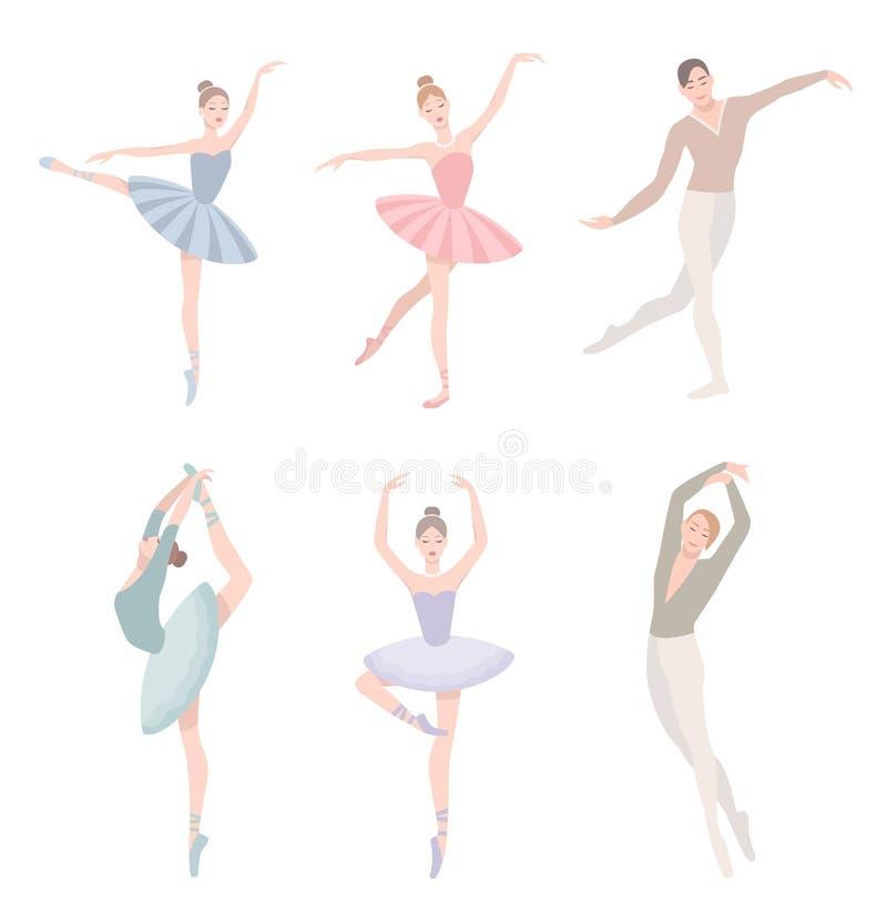 Sistema del bailarín de ballet Ejemplo del vector en estilo plano La muchacha y el individuo en tutú se visten, diversa posición  stock de ilustración
