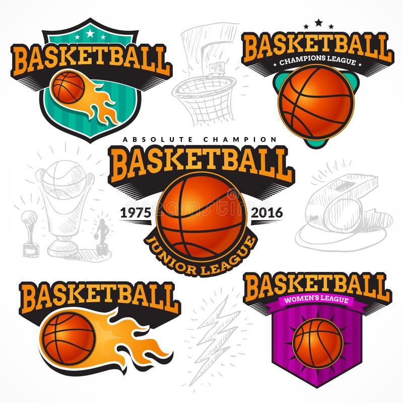 Sistema del baloncesto de etiquetas engomadas stock de ilustración