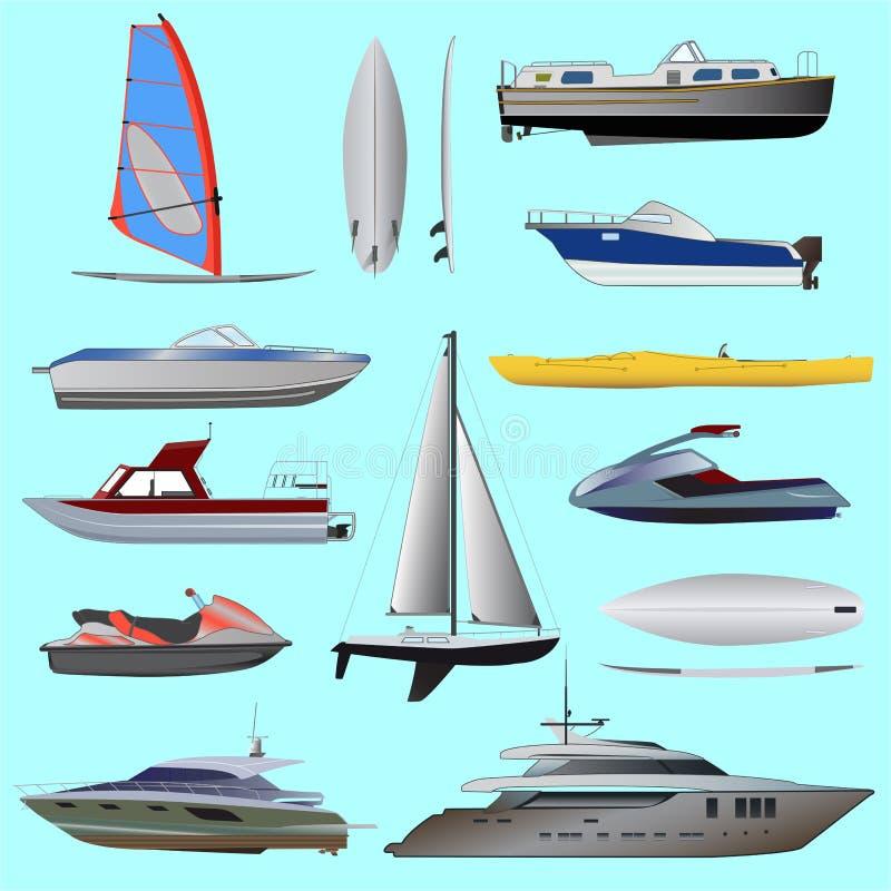 Sistema del barco Navegación y barcos de motor stock de ilustración