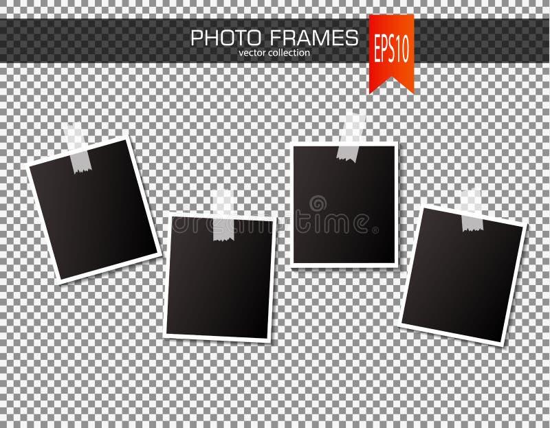Sistema del bastidor de la foto del vintage con las cintas adhesivas Ilustración del vector Maquetas realistas del vector EPS10 d libre illustration