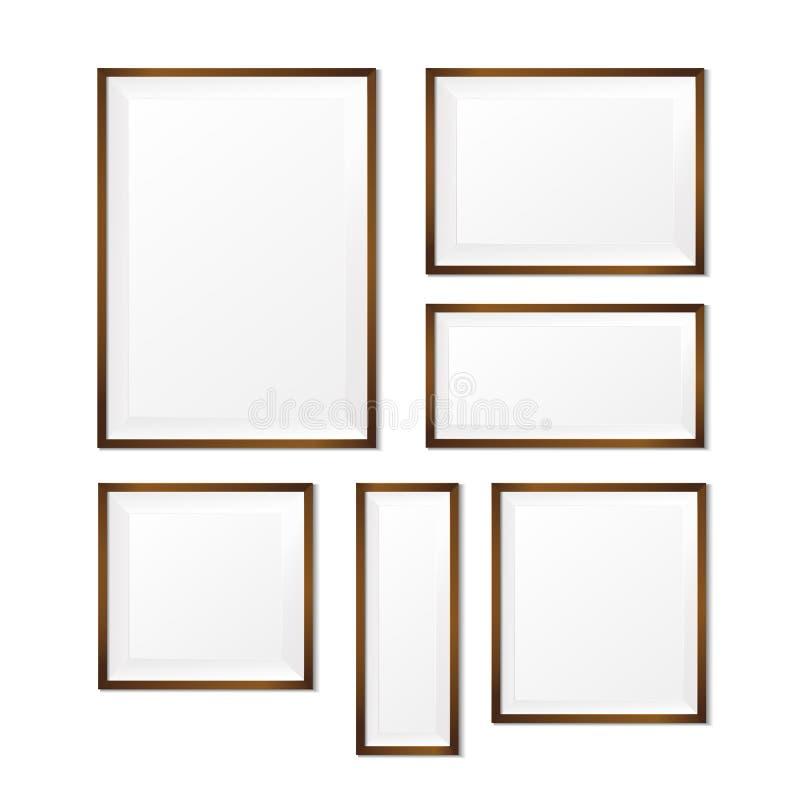 Sistema del bastidor de madera en blanco de la foto en el vector blanco eps10 del fondo stock de ilustración