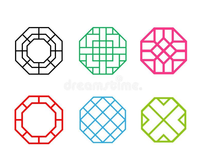 Sistema del bastidor de ventana coreano del modelo del hexágono ilustración del vector