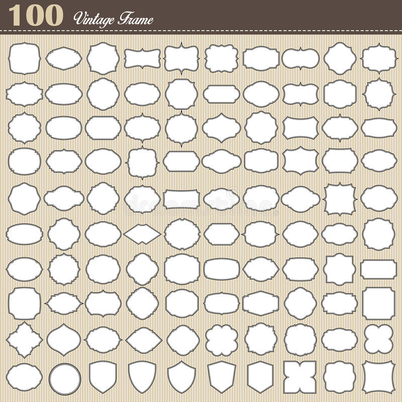 Sistema del bastidor en blanco del vintage 100 en el fondo blanco ilustración del vector