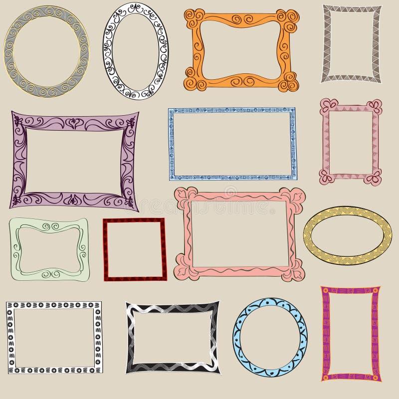 Sistema del bastidor lindo. Marcos victorianos de la foto de los ornamentos adentro  libre illustration