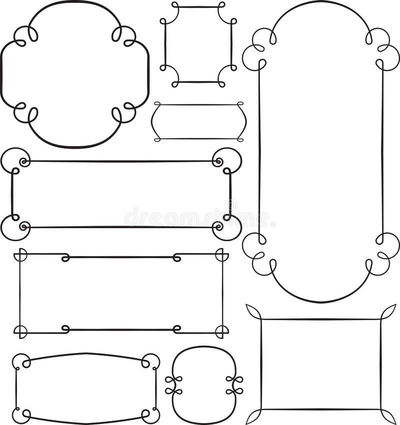 Sistema del bastidor negro de nueve vintages con el lugar vacío para su texto o stock de ilustración
