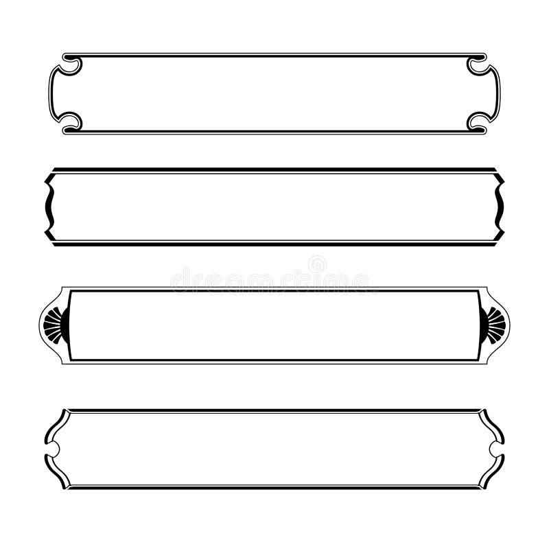 Sistema del bastidor negro simple de la frontera de las banderas libre illustration