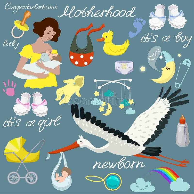 Sistema del bebé, diversos artículos para el cuidado del bebé Sistema del vector de elementos aislados ilustración del vector