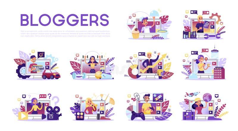 Sistema del Blogger El diverso blogger video hace estudio libre illustration