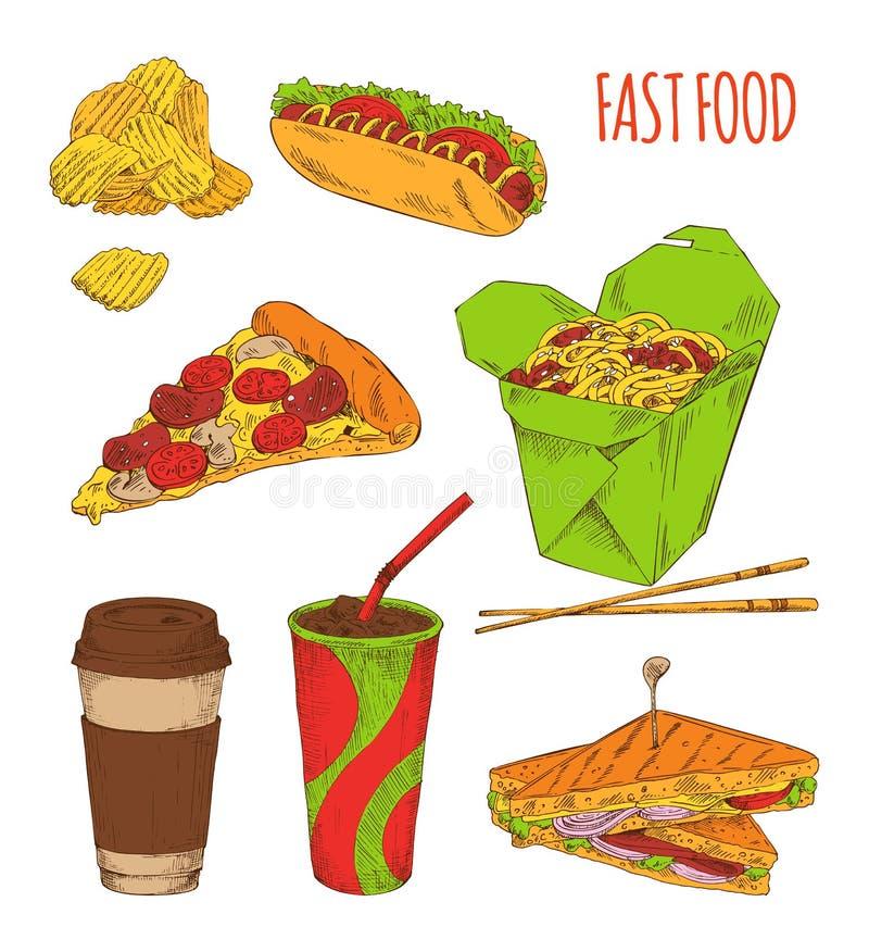 Sistema del bocado de los alimentos de preparación rápida aislado en el contexto blanco stock de ilustración