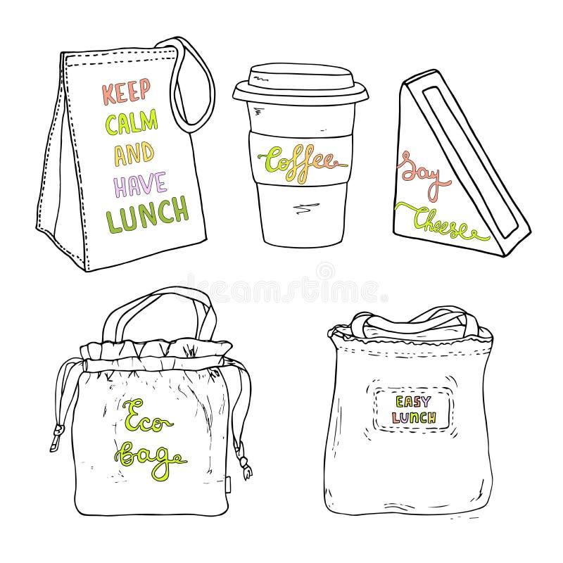 Sistema del bolso del almuerzo Bolso de Eco, caja del bocadillo, taza de café Bosquejo drenado mano libre illustration
