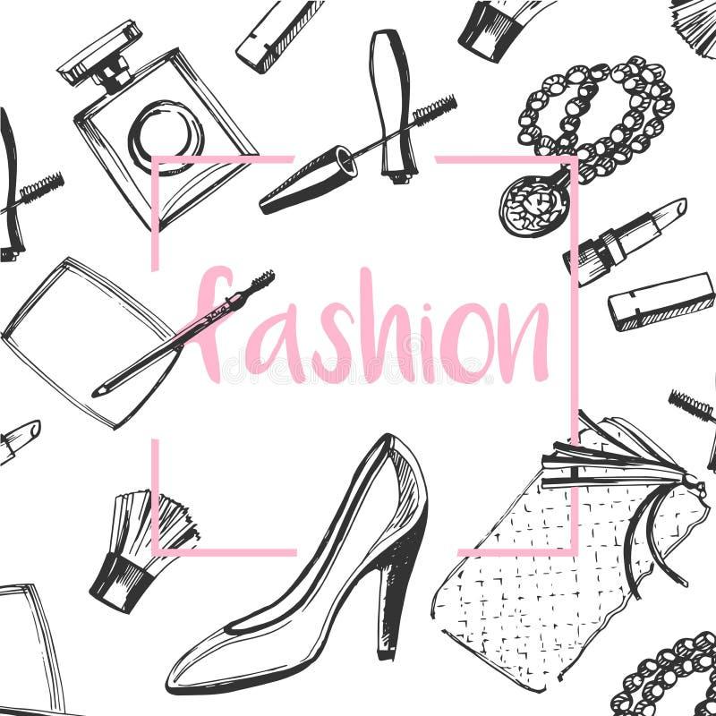 Sistema del bosquejo de la moda Dé los zapatos gráficos exhaustos, cepillo del maquillaje, lápiz labial, polvo, embrague, perfume stock de ilustración