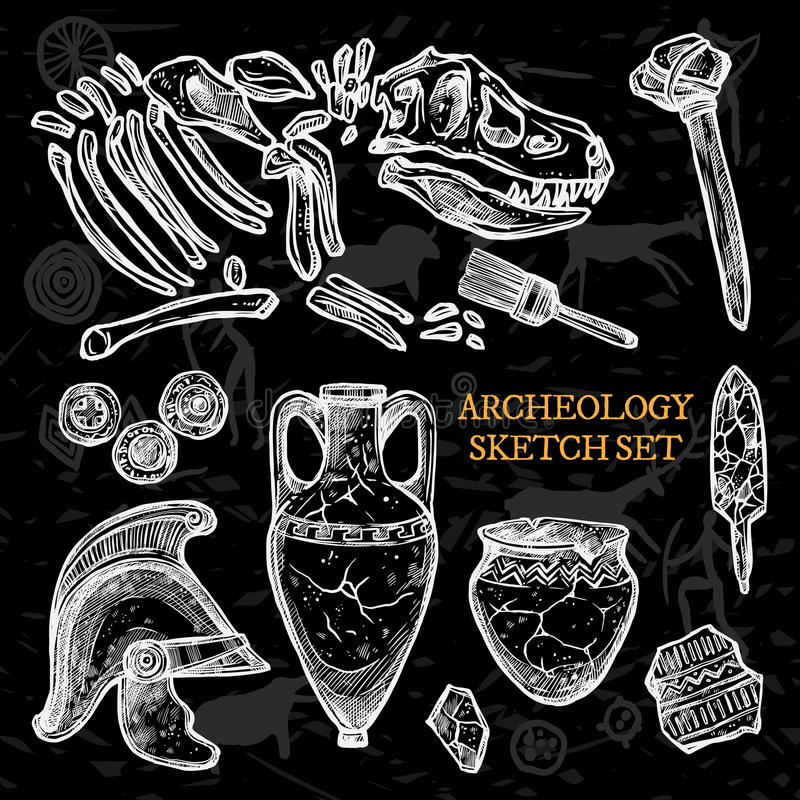 Sistema del bosquejo de la pizarra de la arqueología stock de ilustración