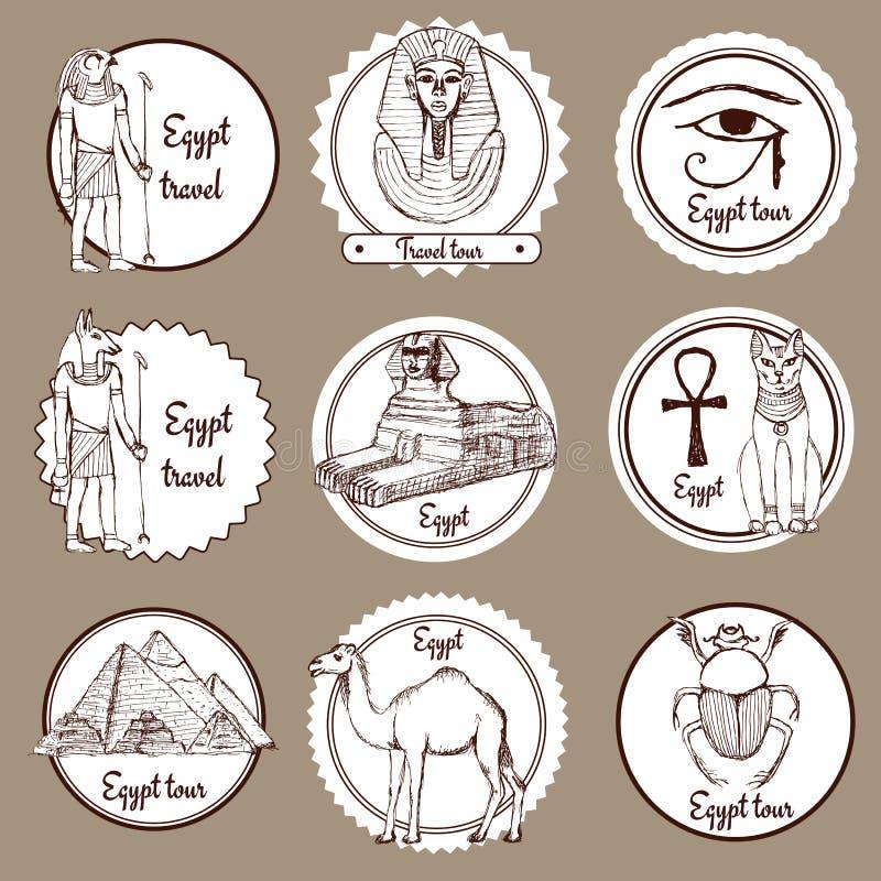 Sistema del bosquejo de las etiquetas de Egipto stock de ilustración