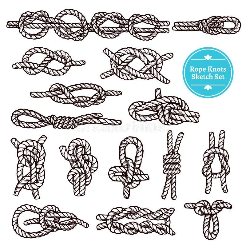 Sistema del bosquejo de los nudos de la cuerda ilustración del vector