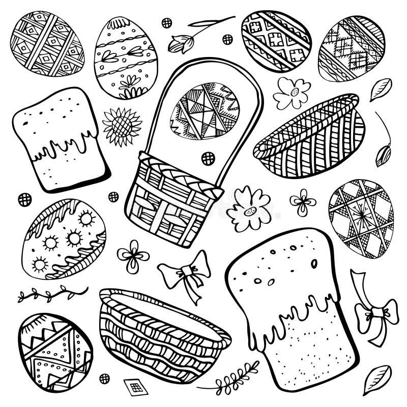 Sistema del bosquejo de Pascua Huevos, tortas de Pascua y cestas pintados Ejemplo exhausto del vector de la tinta del esquema de  ilustración del vector