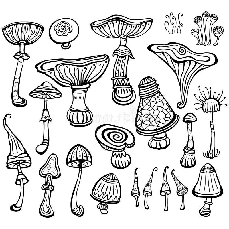 Sistema del bosquejo de setas stock de ilustración