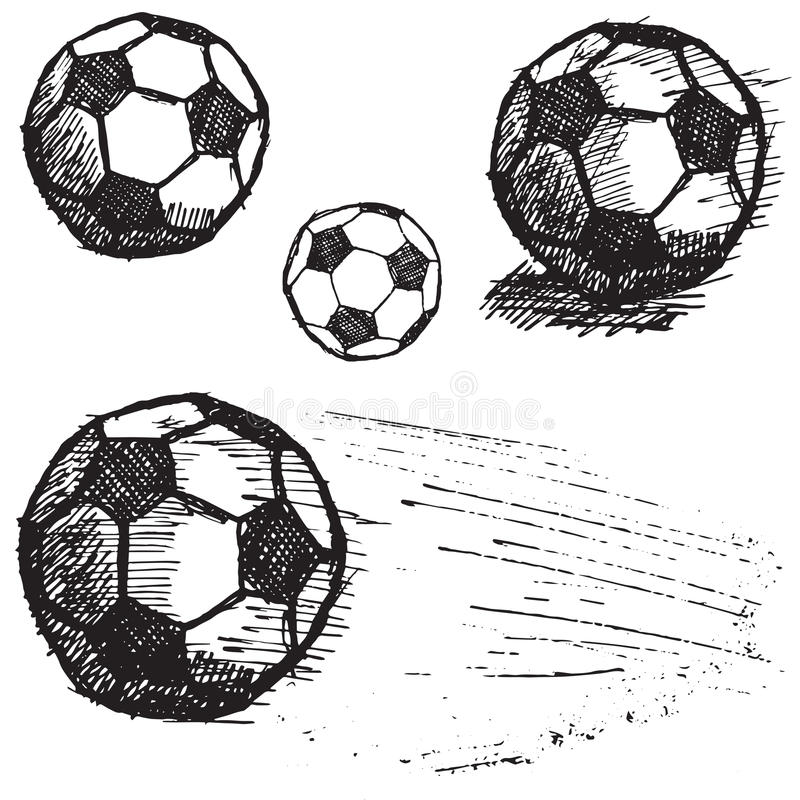 Sistema del bosquejo del balón de fútbol del fútbol aislado en el fondo blanco stock de ilustración
