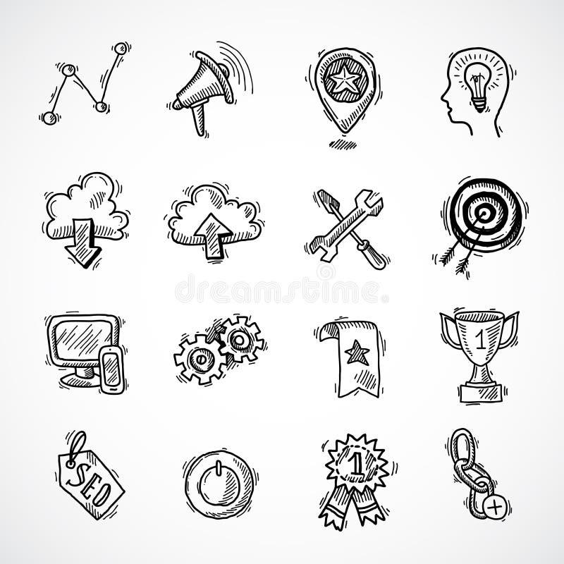 Sistema del bosquejo del márketing de Internet de SEO libre illustration