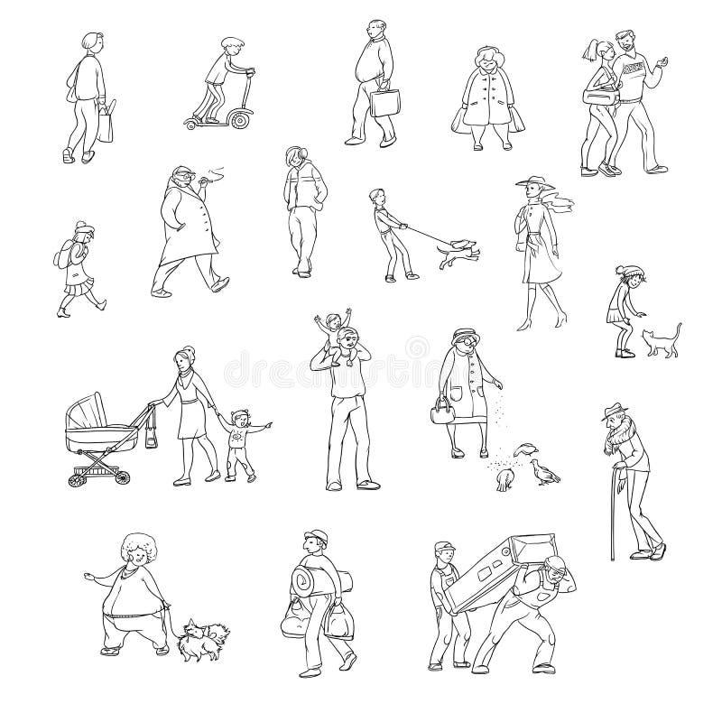 Sistema del bosquejo del vector de residentes urbanos que caminan de los ejemplos Niños y adultos en diversas situaciones en la c ilustración del vector